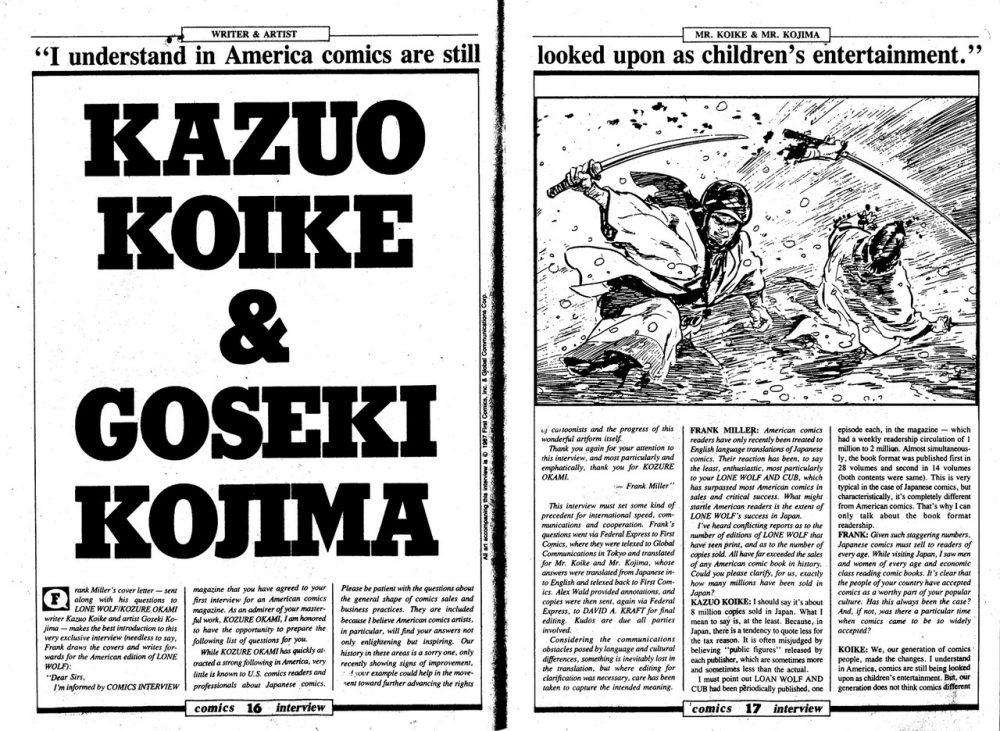 Frank Miller entrevista Kazuo Koike e Goseki Kojima