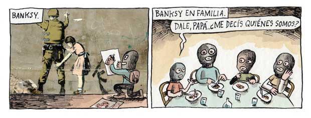 A família Banksy, por Liniers