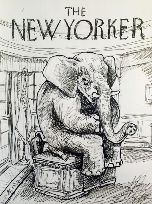 Um elefante sentado na cabeça de Obama, por Liniers
