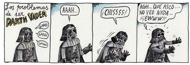 Quando Darth Vader espirra, por Liniers