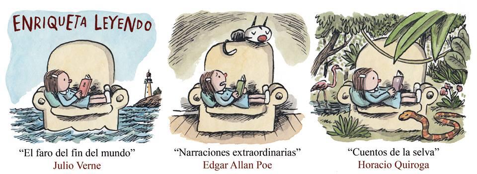 Enriqueta lendo, por Liniers