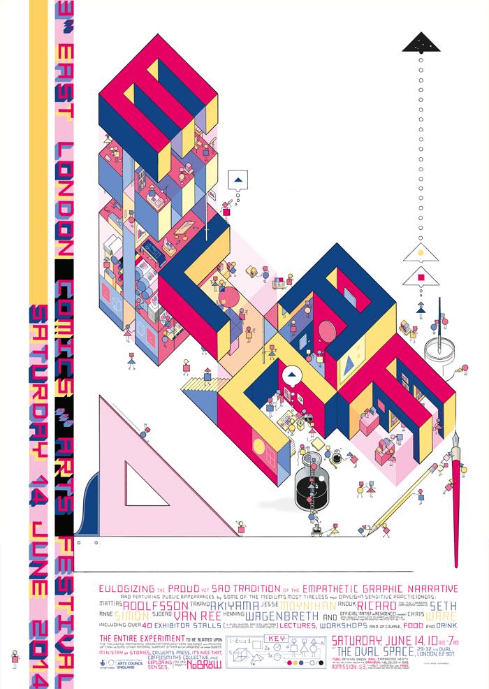 O cartaz de Chris Ware pro ELCAF 2014