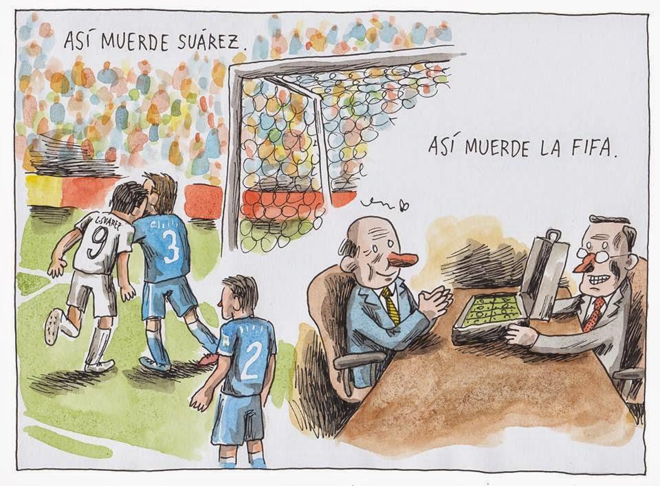 Tira publicada pelo quadrinista durante a Copa do Mundo, com crítica à Fifa
