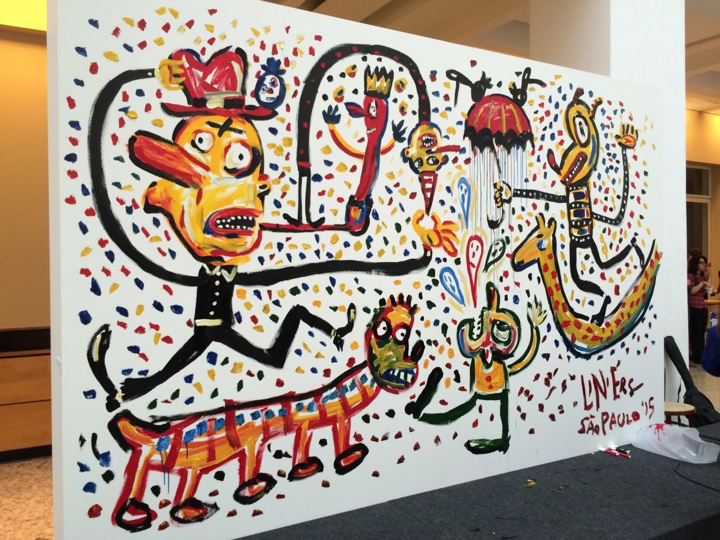 Liniers e a abertura da exposição Macanudismo em São Paulo
