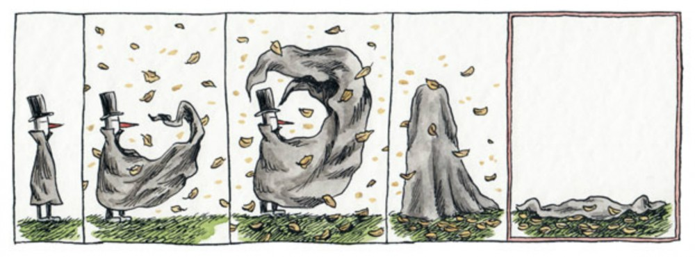 Uma nova aventura do Misterioso Homem de Preto, por Liniers