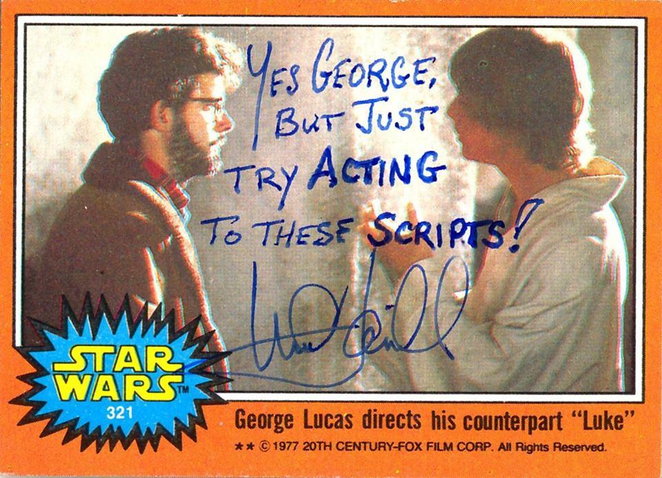 Os autógrafos de Mark Hammill em cards de Guerra nas Estrelas