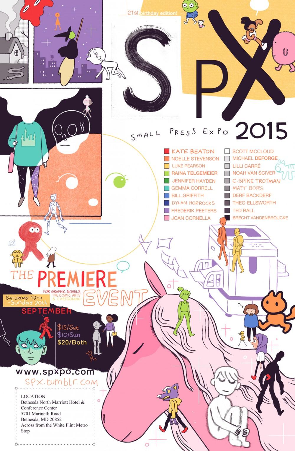 O cartaz de Luke Pearson pra edição de 2015 da Small Press Expo