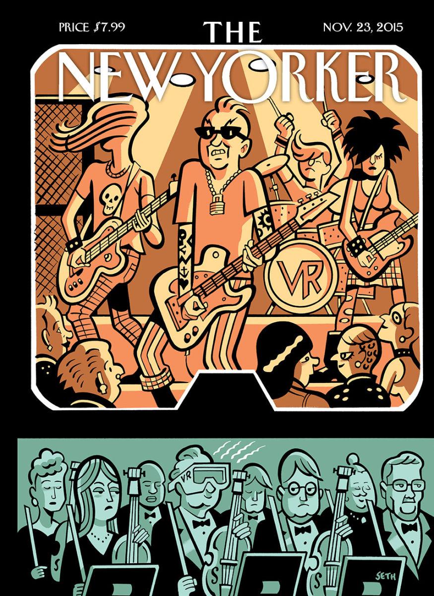 Seth e a música virtual na capa da próxima edição da New Yorker