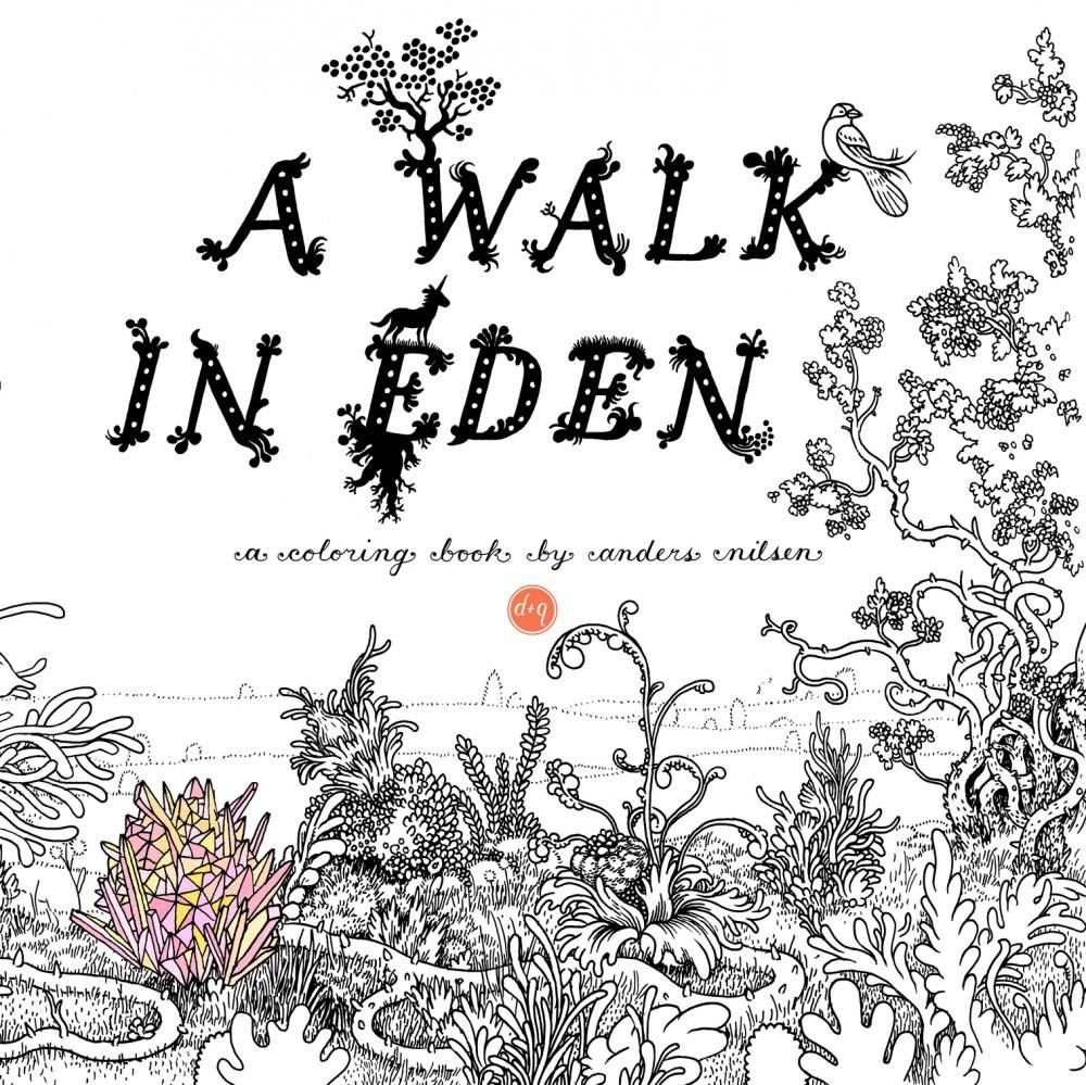A Walk in Eden: a capa do livro de colorir de Anders Nilsen