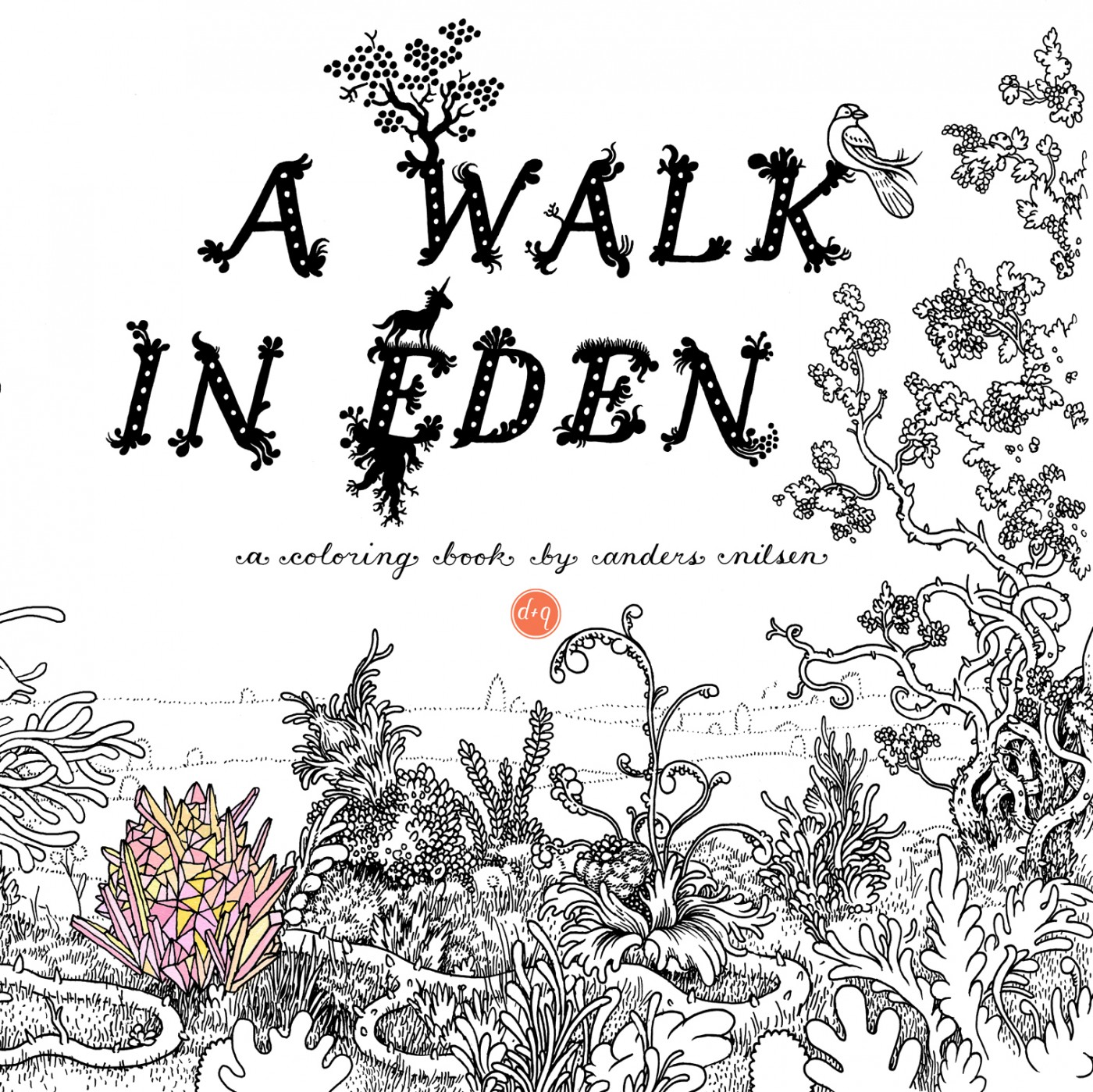 A Walk in Eden: a capa do livro de colorir de Anders Nilsen