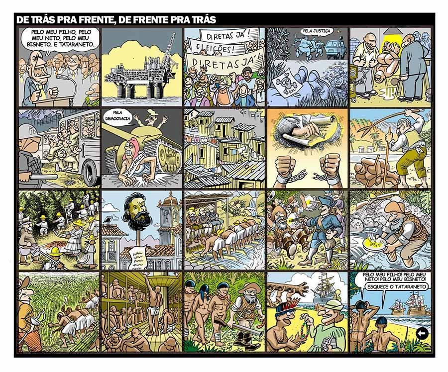 De trás pra frente, de frente pra trás: a história do Brasil, por Luiz Gê