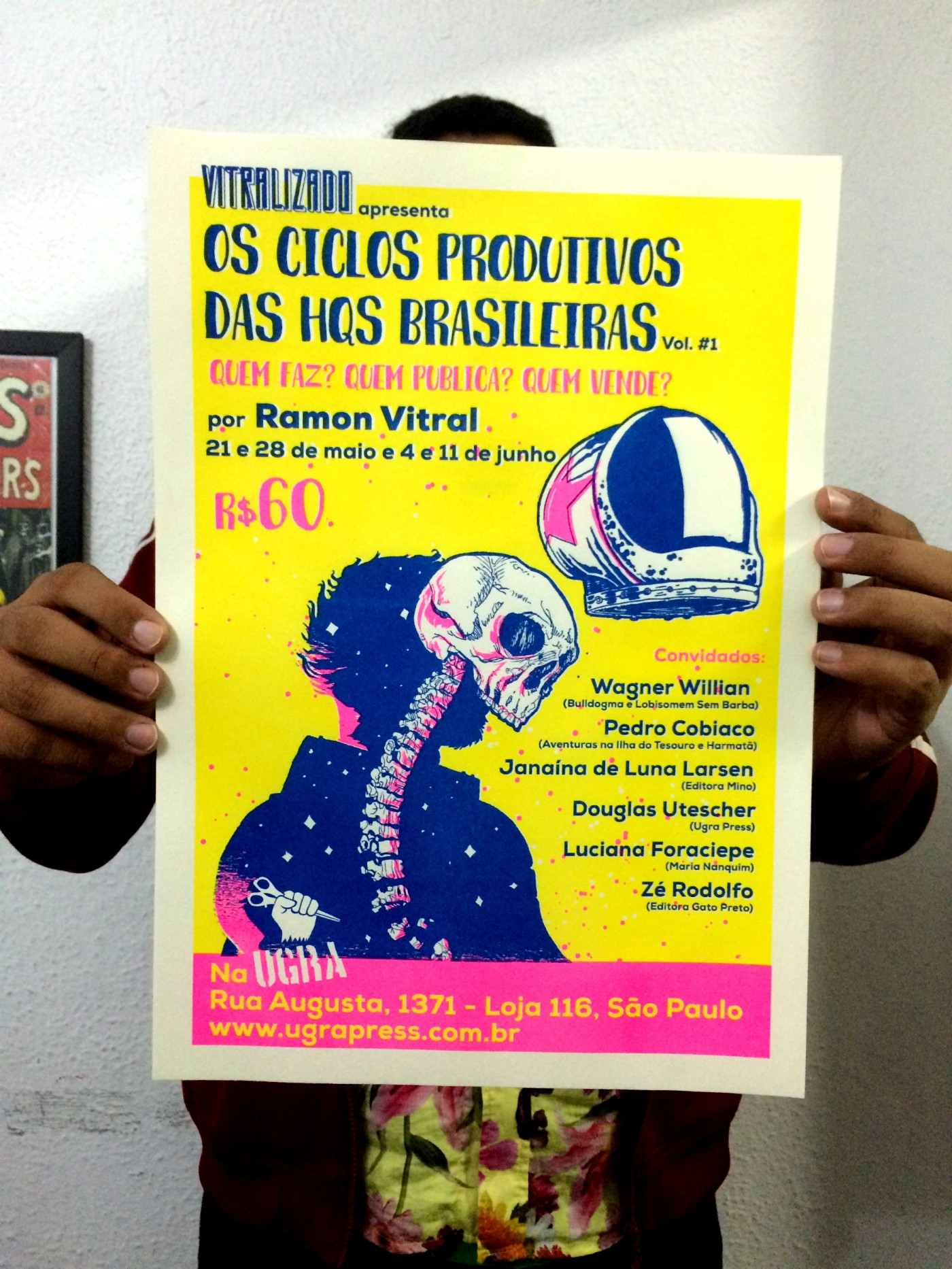 O cartaz do curso Os Ciclos Produtivos das HQs Brasileiras