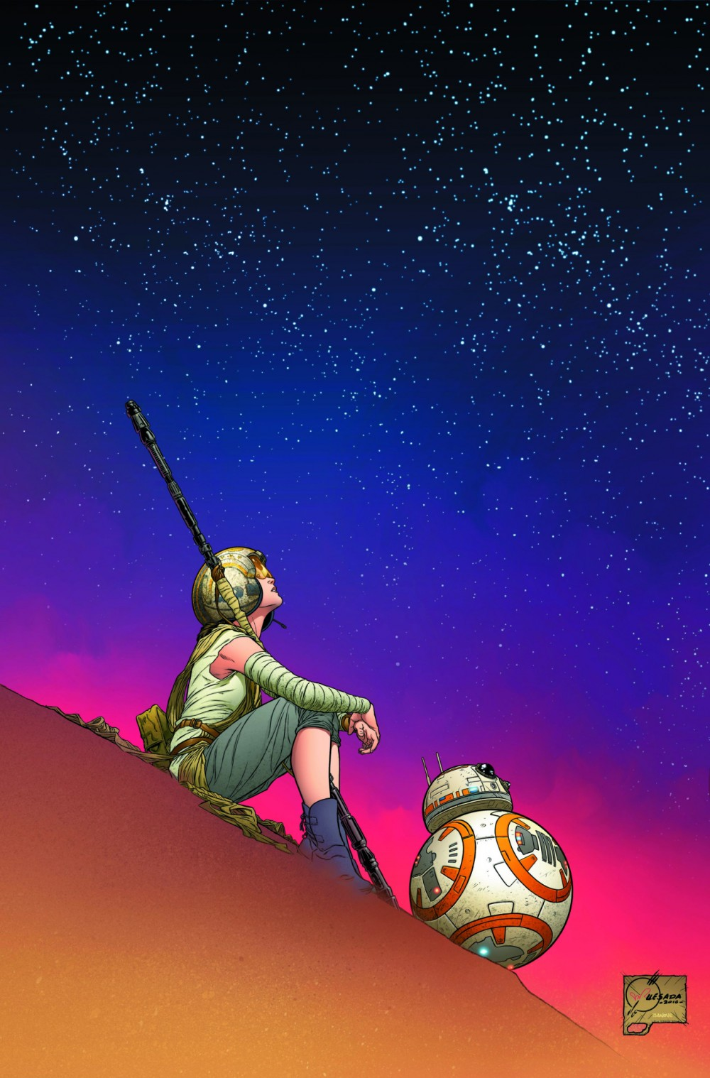 Rey + BB-8, por Joe Quesada