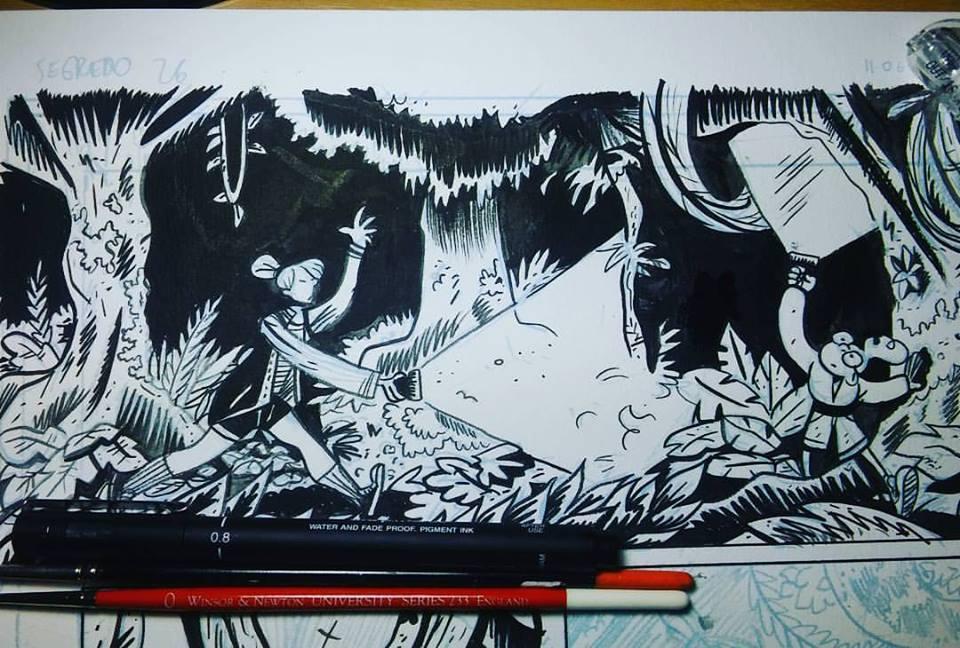 O making-of de uma página de O Segredo da Floresta, por Felipe Nunes