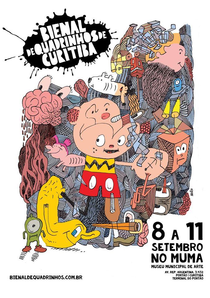 Outro cartaz para a Bienal de Quadrinhos de Curitiba, por Adão Iturrusgarai