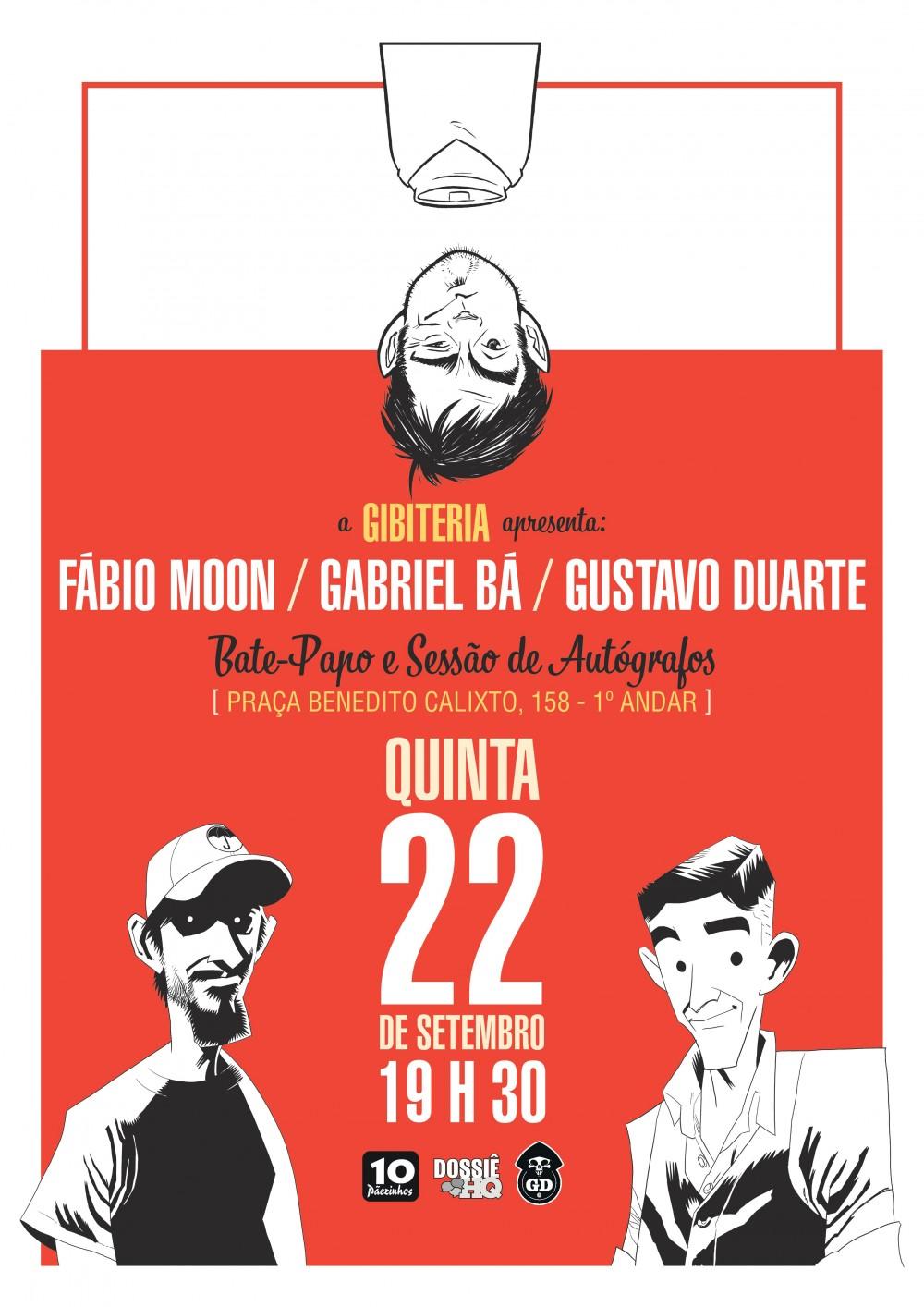Um encontro com Fábio Moon, Gabriel Bá e Gustavo Duarte na Gibiteria