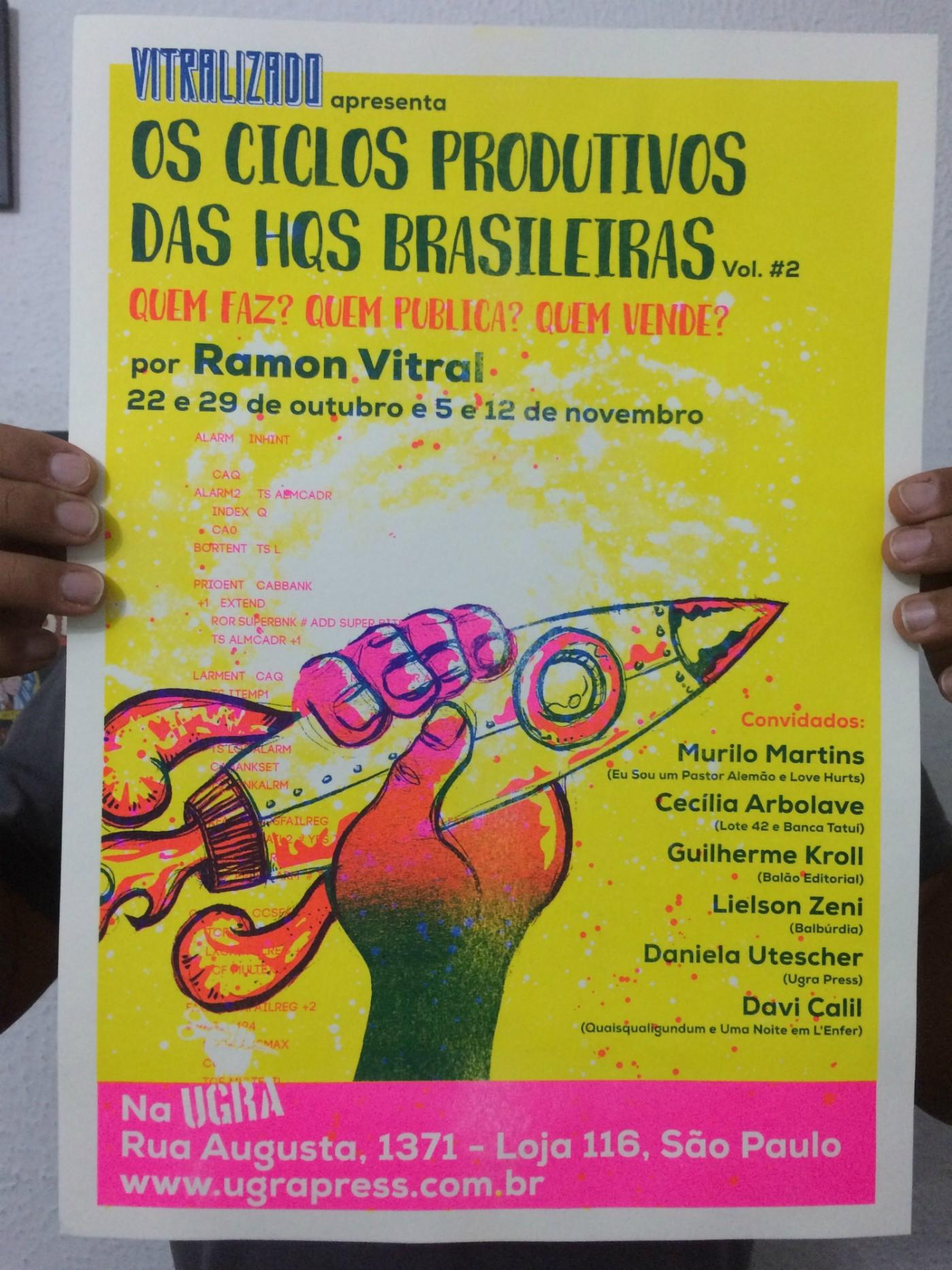 O cartaz do curso Os Ciclos Produtivos das HQs Brasileiras – Vol. #2
