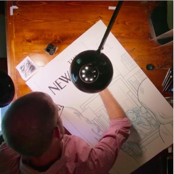 Chris Ware em ação produzindo uma capa da New Yorker