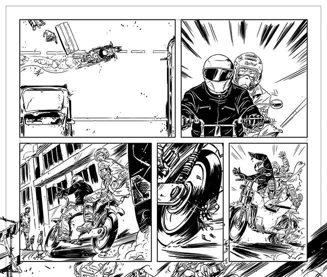O making of de uma sequência de duas páginas de São Paulo dos Mortos Vol. 03, por Daniel Esteves e Alex Rodrigues