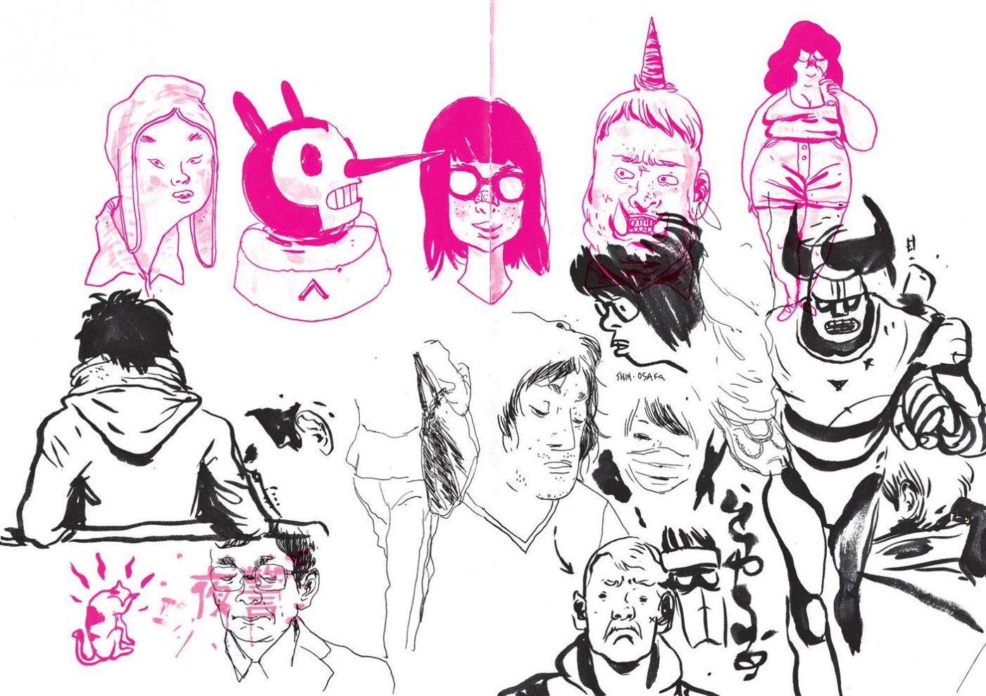 Uma prévia das ilustrações da coletânea Magenta King Sketchbook Vol. 1