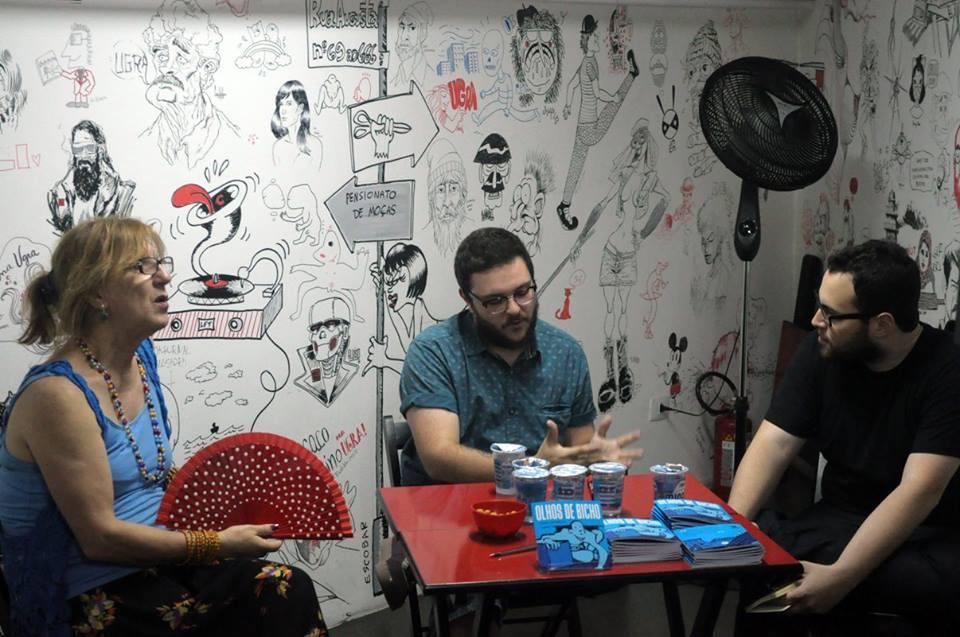 Laerte, Rafael Roncato e eu na abertura da Adágio na Ugra