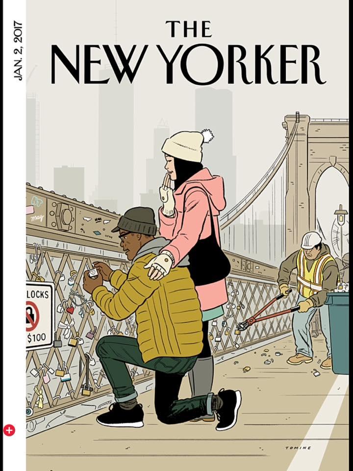 Adrian Tomine e os cadeados do amor na capa da primeira New Yorker de 2017