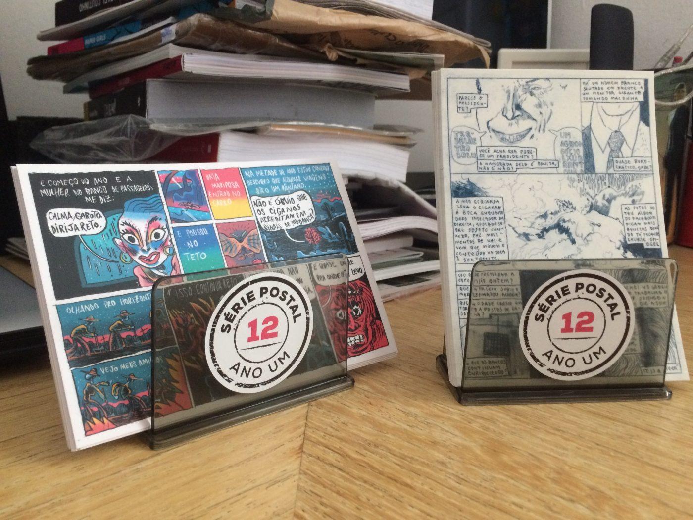 As duas primeiras edições da Série Postal estão disponíveis na mesa da Ugra Press na Feira Plana