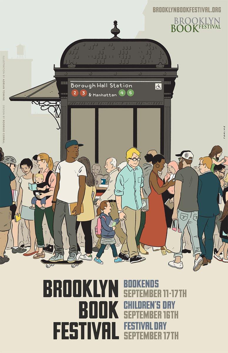 O cartaz de Adrian Tomine pro Brooklyn Book Festival 2017