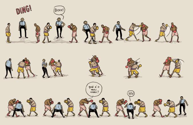 Boxe: Alexandre S. Lourenço inaugura o selo La Gougoutte com HQ de 22 páginas e 368 cenas de combate entre dois boxeadores