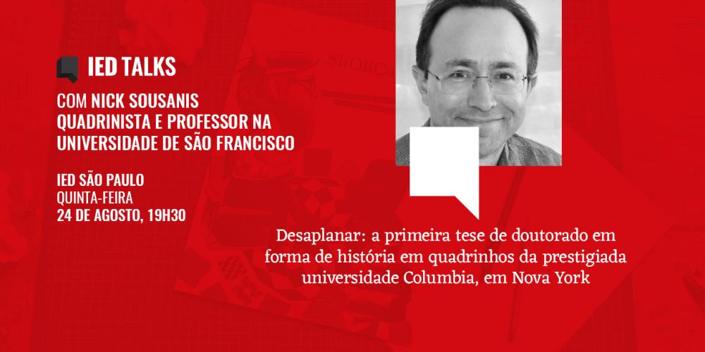 Estão abertas as inscrições para o bate-papo gratuito com Nick Sousanis, o autor de Desaplanar, no IED São Paulo