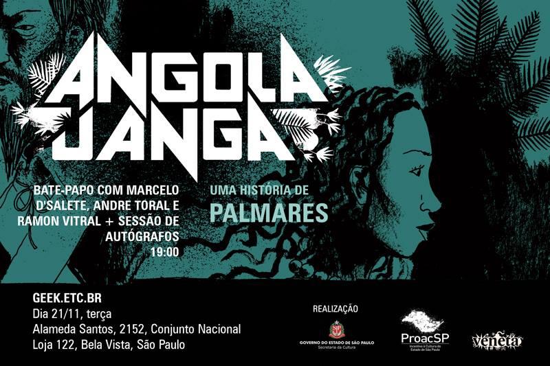 3ª (21/11) é dia de lançamento de Angola Janga e bate-papo com Marcelo D'Salete e André Toral em SP