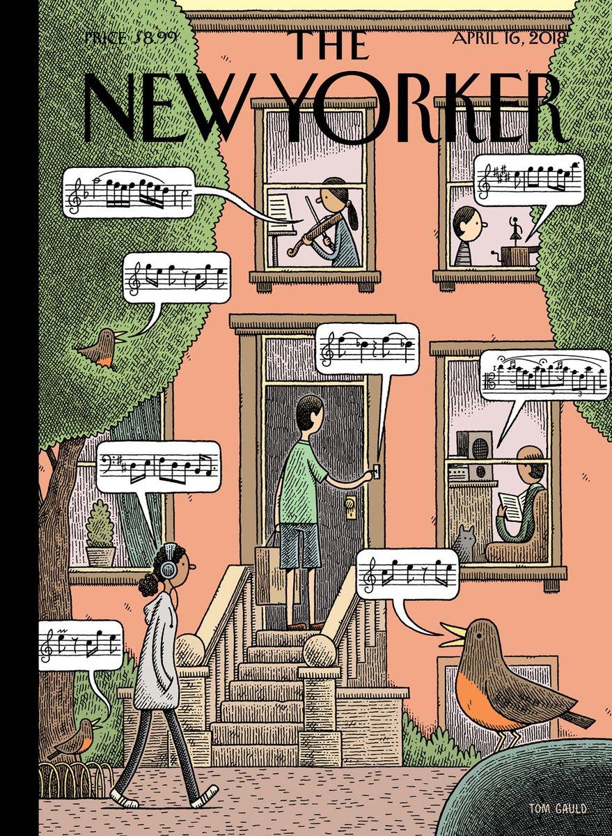 Tom Gauld e os sons da primavera na capa da New Yorker