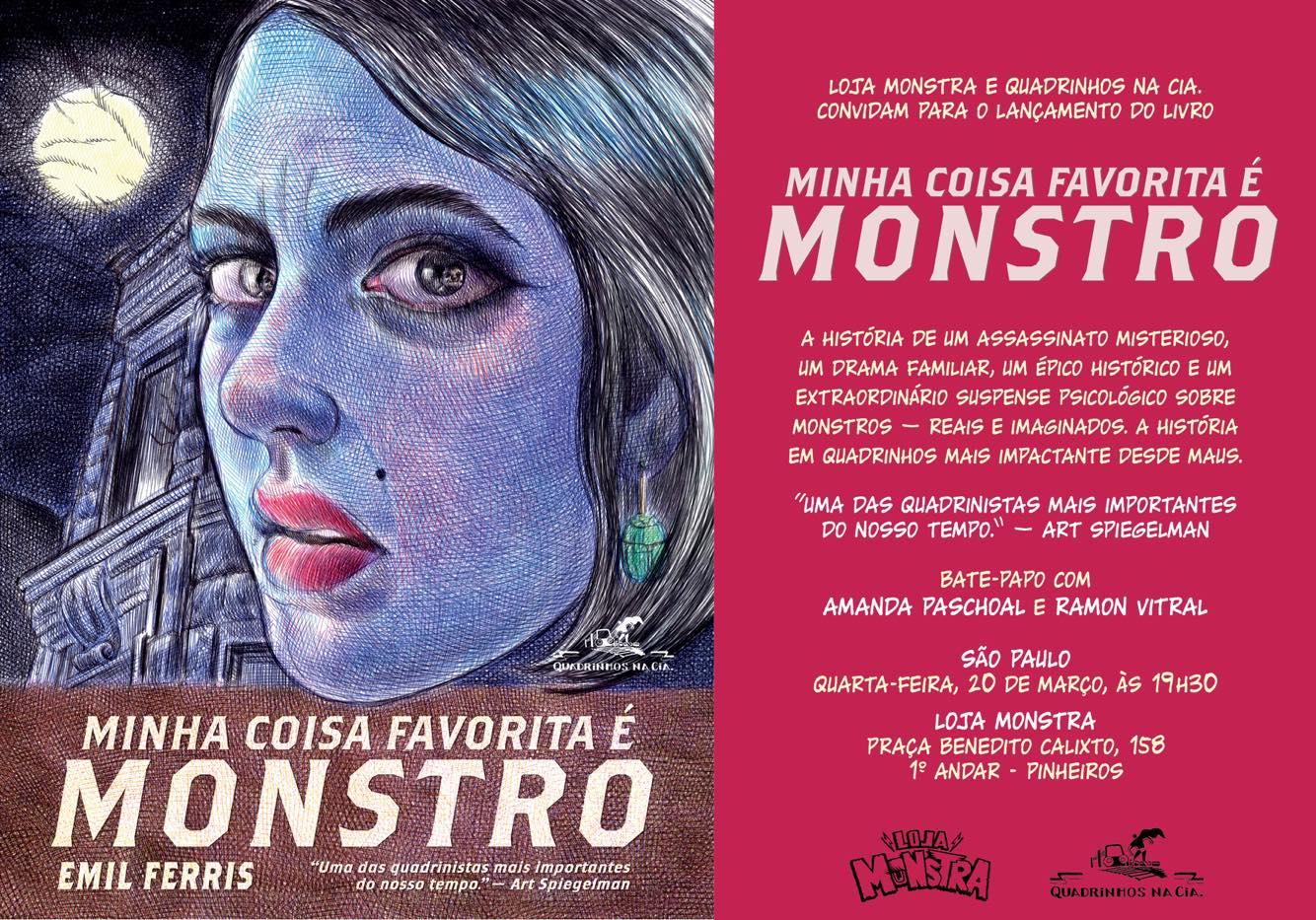4ª (20/3) é dia de lançamento de Minha Coisa Favorita É Monstro, de Emil Ferris, em São Paulo