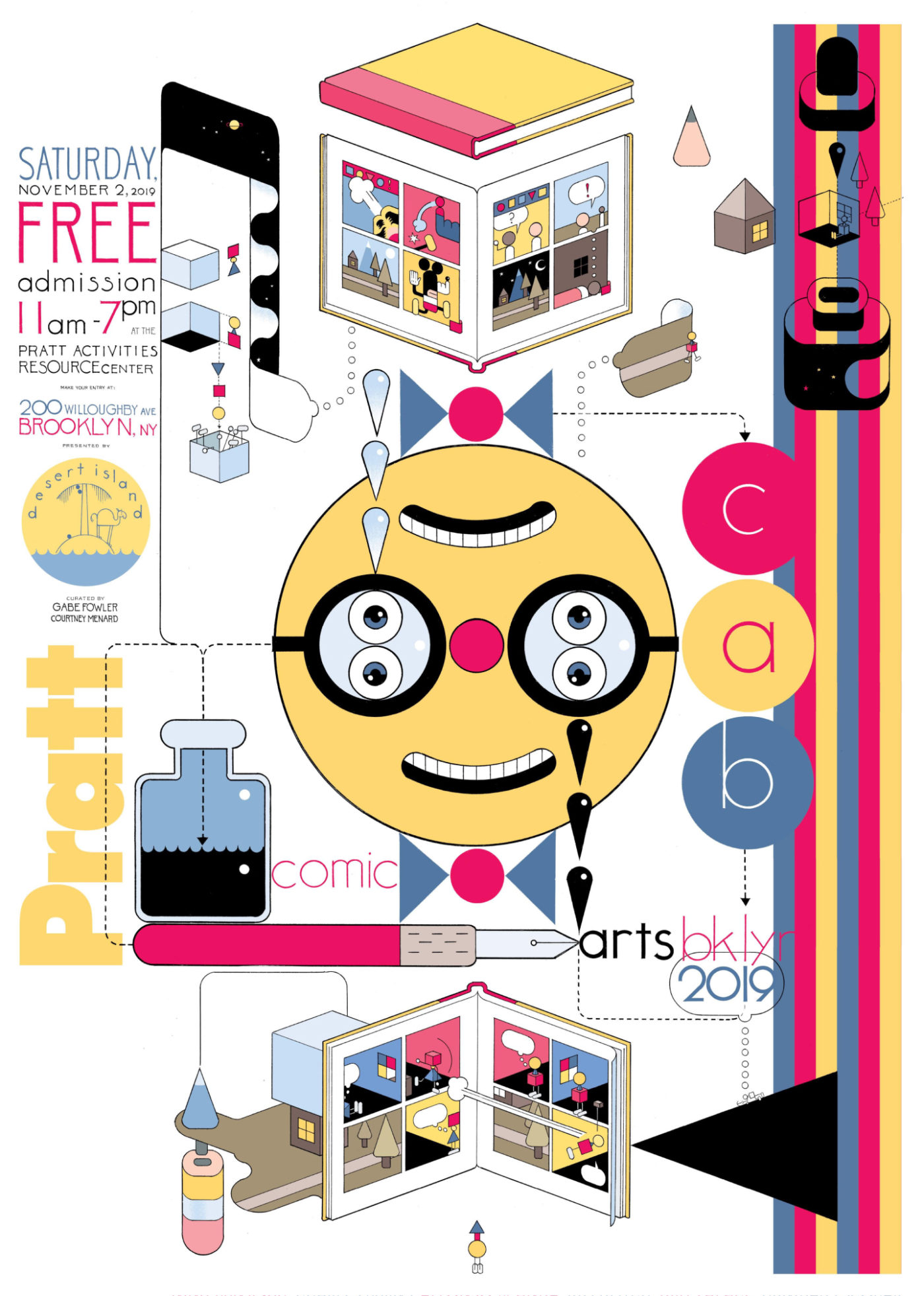 Confira a arte de Chris Ware para o cartaz do Comic Arts Brooklyn 2019