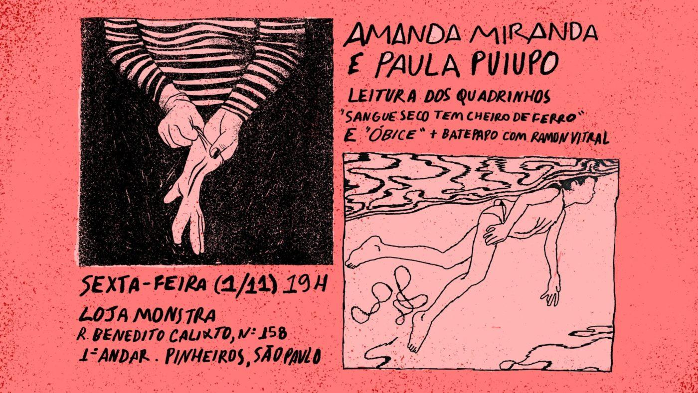 6ª (1/11) é dia de lançamento de Sangue Seco tem Cheiro de Ferro, de Amanda Miranda, e  Óbice, de Paula Puiupo, em São Paulo