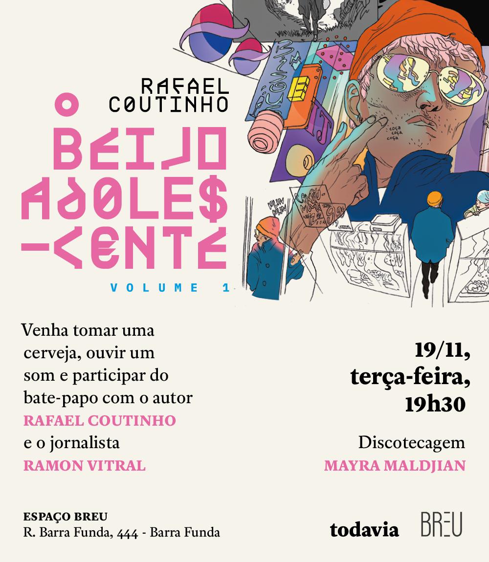 3ª (19/11) é dia de bate-papo com Rafael Coutinho sobre o lançamento de O Beijo Adolescente – Volume 1