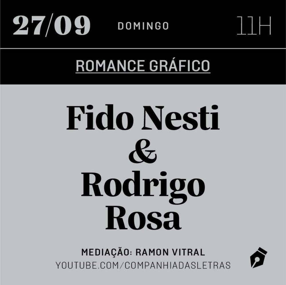 Domingo (27/9) é dia de papo com Fido Nesti e Rodrigo Rosa sobre adaptação de literatura para HQs